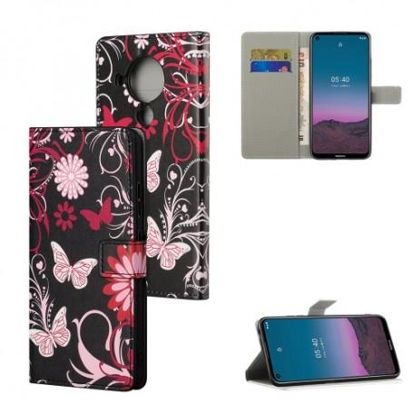 Nokia 5.4 kukkia ja perhosia suojakotelo
