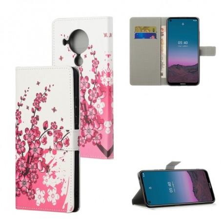 Nokia 5.4 vaaleanpunaiset kukat suojakotelo