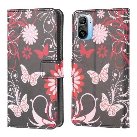 Xiaomi Mi 11i kukkia ja perhosia suojakotelo