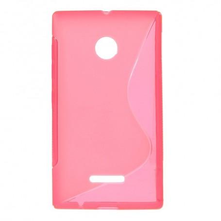 Lumia 435 roosan punainen silikonisuojus.
