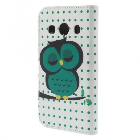 Galaxy Ace 4 vihreä pöllö puhelinlompakko