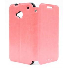 HTC One vaaleanpunainen kansikotelo.