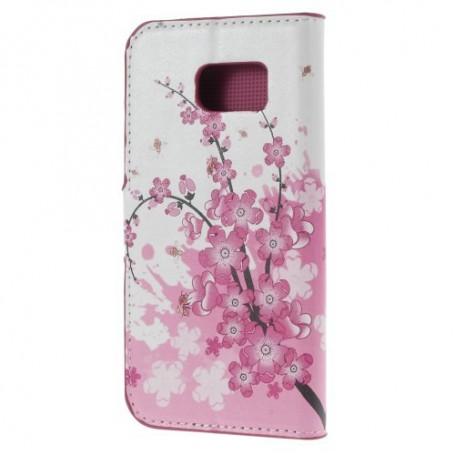 Galaxy S6 vaaleanpunaiset kukat puhelinlompakko