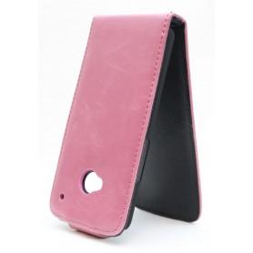 HTC One vaaleanpunainen läppäkotelo.