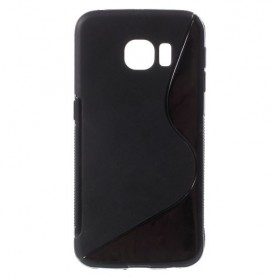 Galaxy S6 edge musta silikonisuojus.