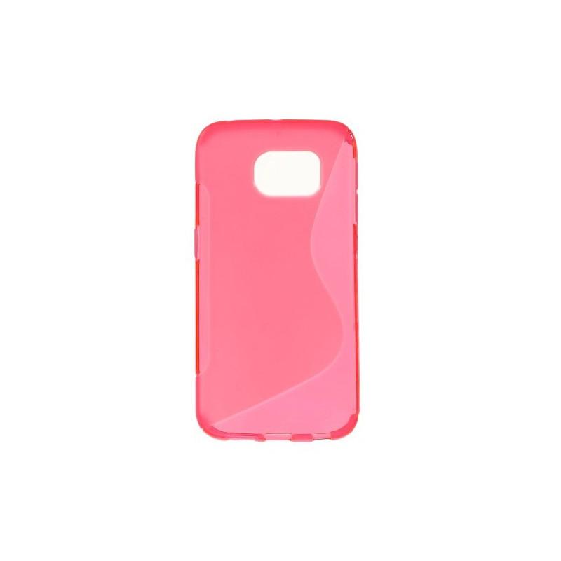 Galaxy S6 edge roosan punainen silikonisuojus.