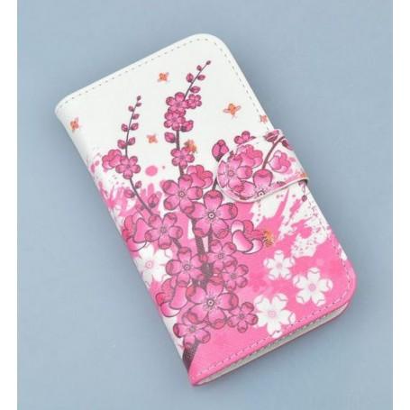 Lumia 620 vaaleanpunaiset kukat puhelinlompakko