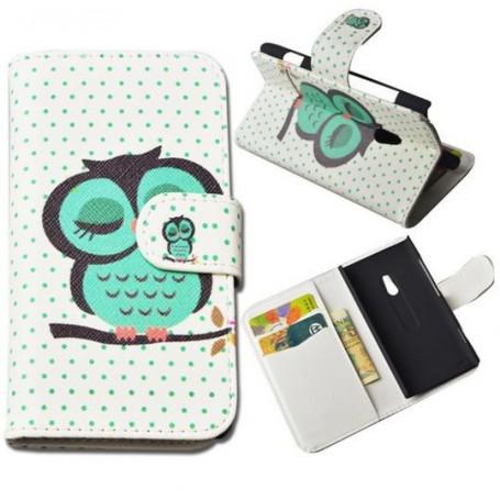 Lumia 620 vihreä pöllö puhelinlompakko