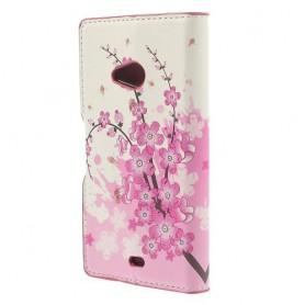 Lumia 535 vaaleanpunaiset kukat puhelinlompakko