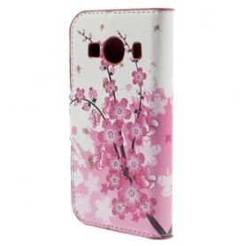 Galaxy ace 4 vaaleanpunaiset kukat puhelinlompakko
