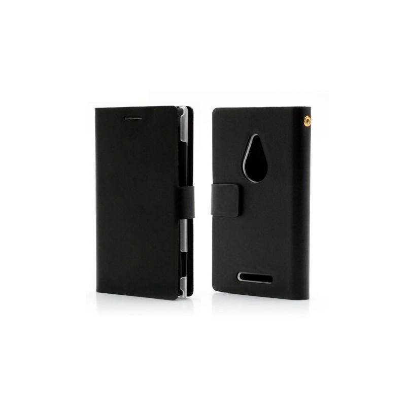 Lumia 925 musta puhelinlompakko aitoa nahkaa