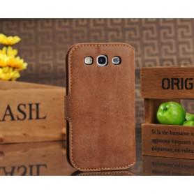 Galaxy S3 ruskea puhelinlompakko aitoa nahkaa