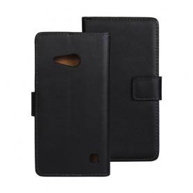 Lumia 735 musta puhelinlompakko aitoa nahkaa