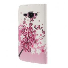 Galaxy J1 vaaleanpunaiset kukat puhelinlompakko