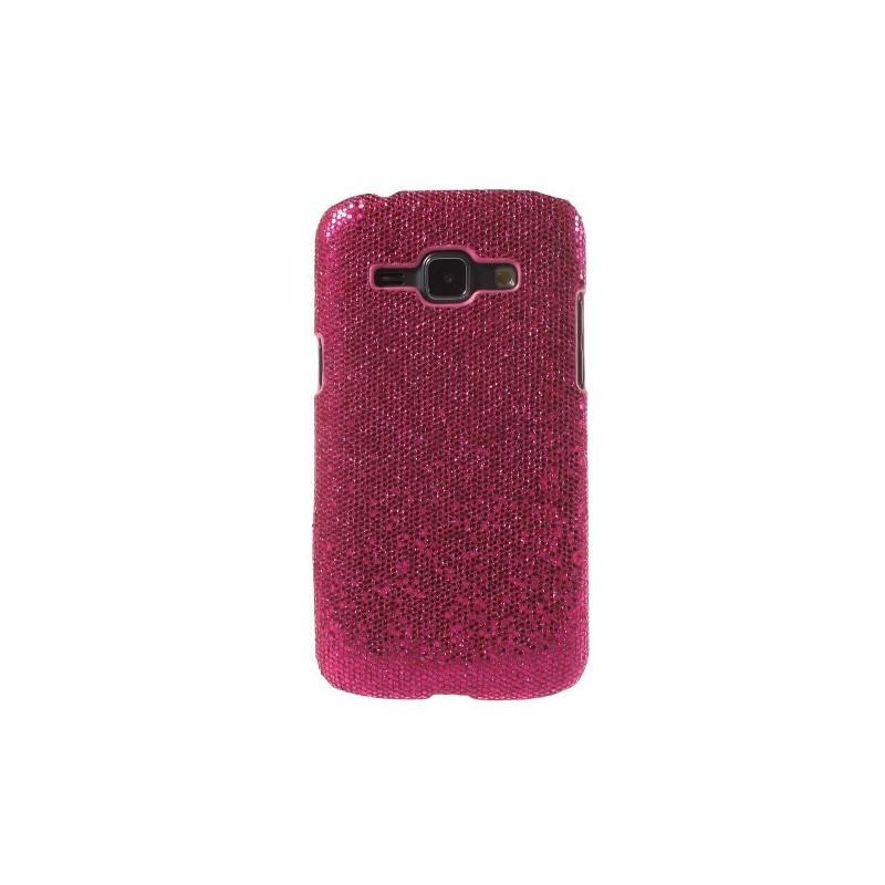 Galaxy J1 hot pink glitter suojakuori.