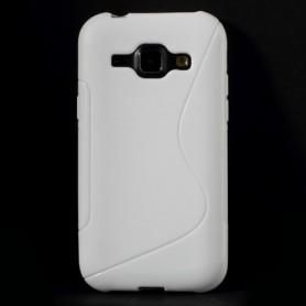 Galaxy J1 valkoinen silikonisuojus.