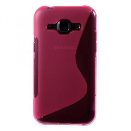Galaxy J1 roosan punainen silikonisuojus.