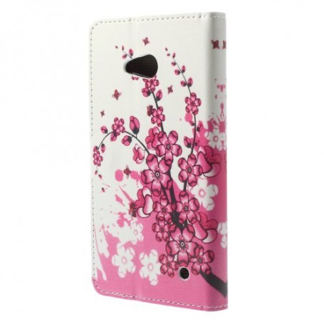 Lumia 640 vaaleanpunaiset kukat puhelinlompakko