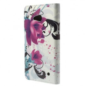 Lumia 640 violetit kukat puhelinlompakko