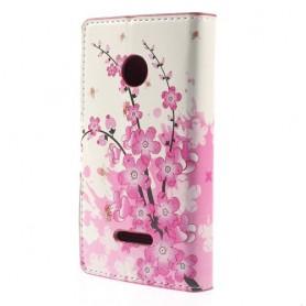 Lumia 532 vaaleanpunaiset kukat puhelinlompakko
