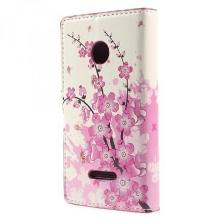 Lumia 435 vaaleanpunaiset kukat puhelinlompakko