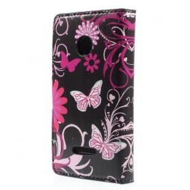 Lumia 435 kukkia ja perhosia puhelinlompakko