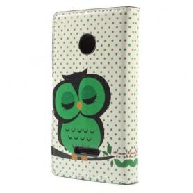 Lumia 435 vihreä pöllö puhelinlompakko