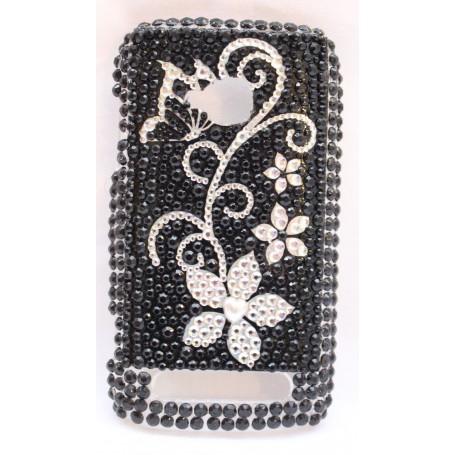 Lumia 710 bling suojakuori musta kukka.