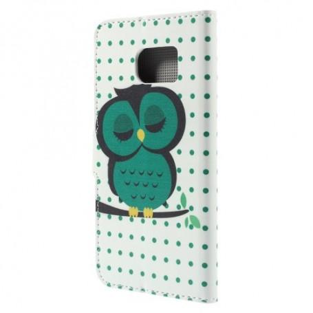 Galaxy S6 edge vihreä pöllö puhelinlompakko
