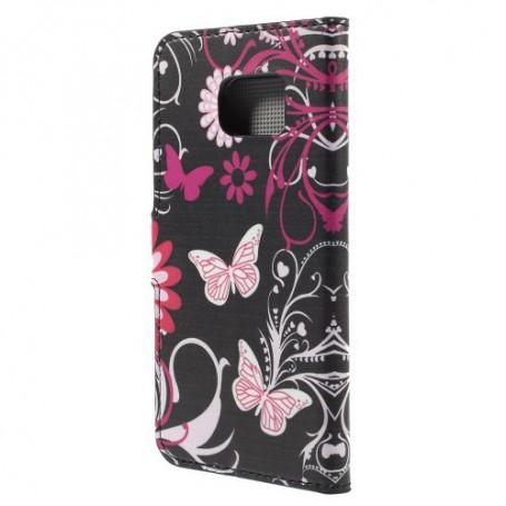 Galaxy S6 edge kukkia ja perhosia puhelinlompakko