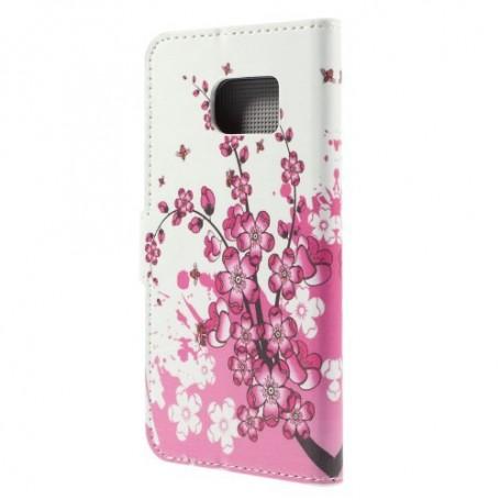 Galaxy S6 edge vaaleanpunaiset kukat puhelinlompakko