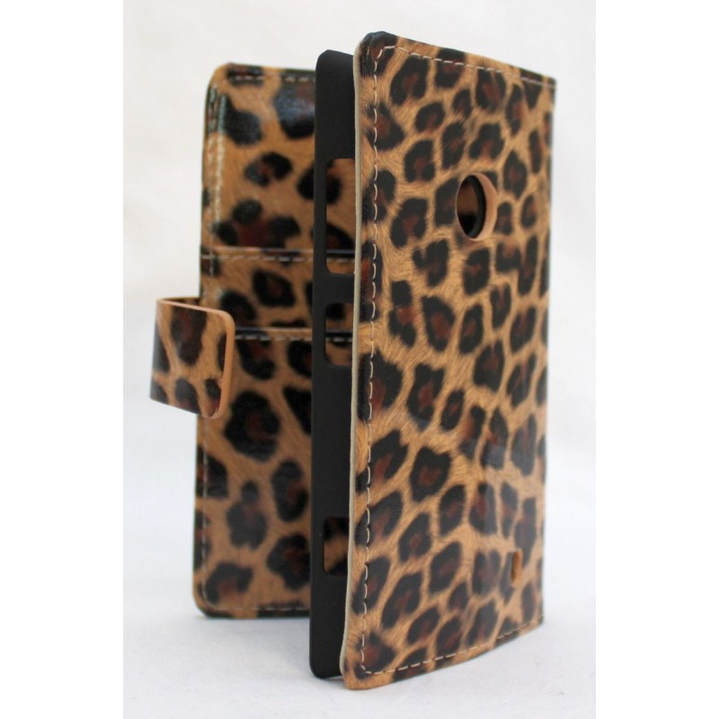 Lumia 520 leopardi lompakko suojakotelo.