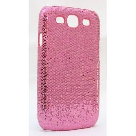 Galaxy S3 pinkin värinen glitter suojakuori.