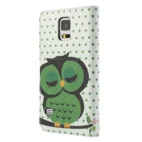 Samsung Galaxy S5 söpö vihreä pöllö puhelinlompakko