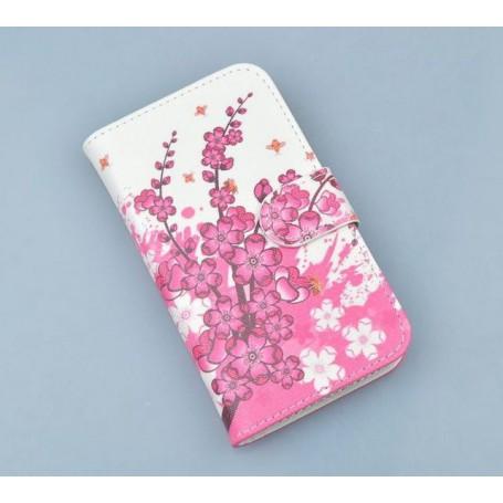Lumia 720 vaaleanpunaiset kukat puhelinlompakko