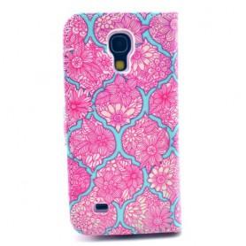 Galaxy S4 mini pinkki kukkakuvio puhelinlompakko