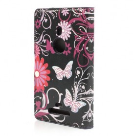 Lumia 925 kukkia ja perhosia puhelinlompakko