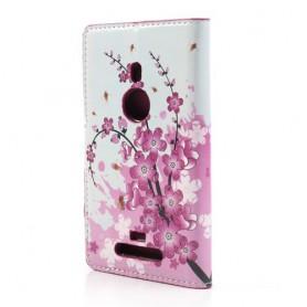Lumia 925 vaaleanpunaiset kukat puhelinlompakko