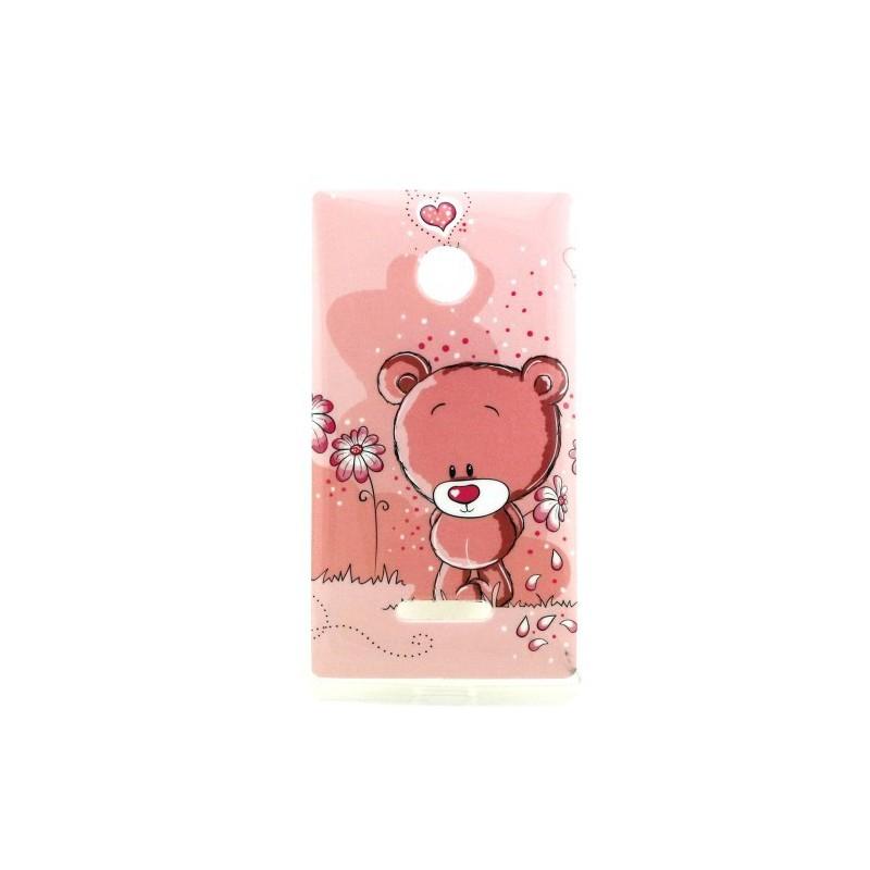 Lumia 435 vaaleanpunainen nalle silikonisuojus.