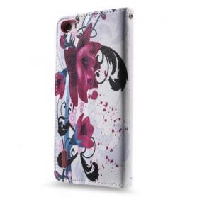 Huawei Honor 6 violetit kukat puhelinlompakko