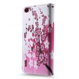 Huawei Honor 6 vaaleanpunaiset kukat puhelinlompakko