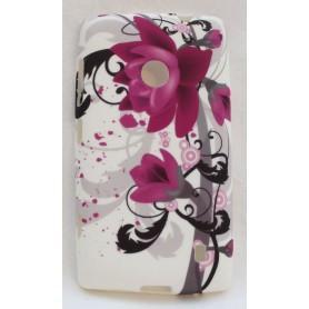 Lumia 520 violetit kukat silikoni suojakuori.