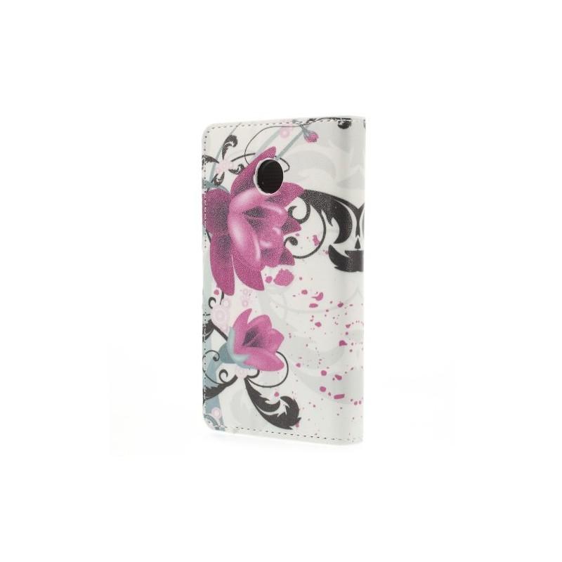Huawei Ascend Y330 violetit kukat puhelinlompakko