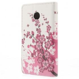 Huawei Ascend Y330 vaaleanpunaiset kukat puhelinlompakko