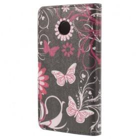 Huawei Ascend Y330 kukkia ja perhosia puhelinlompakko