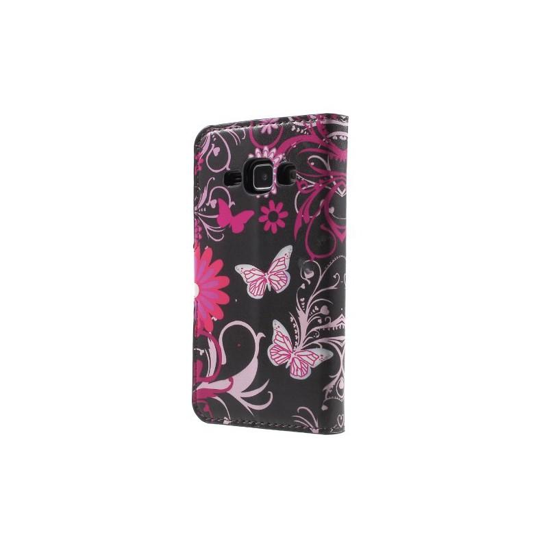 Galaxy J1 kukkia ja perhosia puhelinlompakko