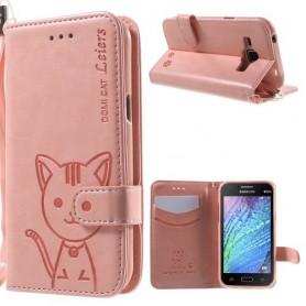 Galaxy J1 vaaleanpunainen kissa puhelinlompakko