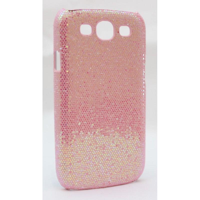 Galaxy S3 vaaleanpunaisen värinen glitter suojakuori.