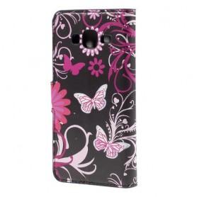 Galaxy J5 kukkia ja perhosia puhelinlompakko