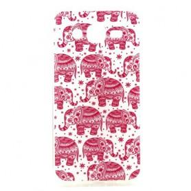 Galaxy J5 vaaleanpunaiset elefantit silikonisuojus.